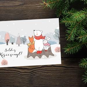 Karácsonyi állatos képeslap - jegesmaci róka és nyuszi társaságában - Boldog Karácsonyt, Kellemes Karácsonyi Ünnepeket!, Otthon & Lakás, Karácsony & Mikulás, Karácsonyi képeslap, Fotó, grafika, rajz, illusztráció, Papírművészet, Karácsonyi állatos képeslap - jegesmaci róka és nyuszi társaságában - Boldog Karácsonyt, Kellemes Ka..., Meska