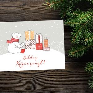 Karácsonyi állatos képeslap - Kedves jegesmedvével - Boldog Karácsonyt, Kellemes Karácsonyi Ünnepeket!, Otthon & Lakás, Karácsony & Mikulás, Karácsonyi képeslap, Fotó, grafika, rajz, illusztráció, Papírművészet, Karácsonyi állatos képeslap - Kedves jegesmedvével - Boldog Karácsonyt, Kellemes Karácsonyi Ünnepeke..., Meska