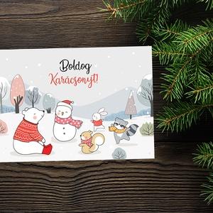 Karácsonyi állatos képeslap - Boldog erdei állatokkal - Boldog Karácsonyt, Kellemes Karácsonyi Ünnepeket!, Otthon & Lakás, Karácsony & Mikulás, Karácsonyi képeslap, Fotó, grafika, rajz, illusztráció, Papírművészet, Karácsonyi állatos képeslap - Boldog erdei állatokkal - Boldog Karácsonyt, Kellemes Karácsonyi Ünnep..., Meska