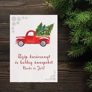 Karácsonyi autós képeslap - karácsonyfákkal tarkítva - Boldog Karácsonyt, Kellemes Karácsonyi Ünnepeket!, Otthon & Lakás, Karácsony & Mikulás, Karácsonyi képeslap, Fotó, grafika, rajz, illusztráció, Papírművészet, Karácsonyi autós képeslap - karácsonyfákkal tarkítva - Boldog Karácsonyt, Kellemes Karácsonyi Ünnepe..., Meska