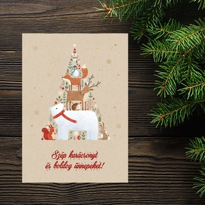 Karácsonyi állatos képeslap - Állati karácsonyfa - Boldog Karácsonyt, Kellemes Karácsonyi Ünnepeket!, Otthon & Lakás, Karácsony & Mikulás, Karácsonyi képeslap, Fotó, grafika, rajz, illusztráció, Papírművészet, Karácsonyi állatos képeslap - Állati karácsonyfa - Boldog Karácsonyt, Kellemes Karácsonyi Ünnepeket!..., Meska