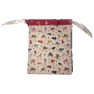 Karácsonyi zsák (kicsi), Karácsony & Mikulás, Karácsonyi csomagolás, Varrás, Karácsonyi mintás pamutvászonból készült zsák selyem szalaggal, mikulásra, karácsonyra.\nMérete: kb. ..., Meska