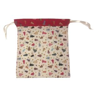Karácsonyi zsák  (nagy), Karácsony & Mikulás, Karácsonyi csomagolás, Varrás, Karácsonyi mintás pamutvászonból készült zsák selyem szalaggal, csillogó textilbőrrel kombinálva mik..., Meska