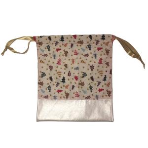 Karácsonyi zsák csillogó textilbőrrel (nagy), Karácsony & Mikulás, Karácsonyi csomagolás, Varrás, Karácsonyi mintás pamutvászonból készült zsák selyem szalaggal, csillogó textilbőrrel kombinálva mik..., Meska