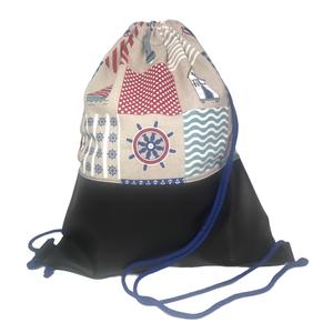 Felnőtt tornazsák (gymbag) - Tengerész minta, Táska & Tok, Hátizsák, Gymbag, Textilbőr és loneta vászon kombinációjával készült hátizsák (gymbag). Belül pamut vászonnal bélelt. ..., Meska
