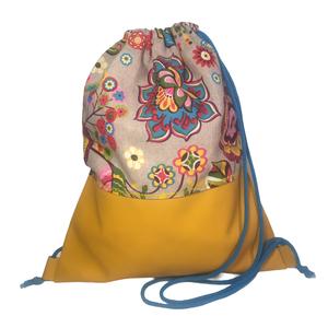 Felnőtt tornazsák (gymbag) - Virágos okker műbőrrel, Táska & Tok, Hátizsák, Gymbag, Textilbőr és loneta vászon kombinációjával készült hátizsák (gymbag). Belül pamut vászonnal bélelt. ..., Meska