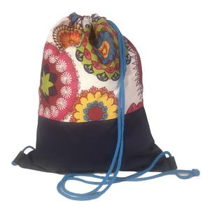 Felnőtt tornazsák (gymbag) - Színes mandalás-sötétkék vászon, Táska & Tok, Hátizsák, Gymbag, Loneta vászon és pamutvászon kombinációjával készült hátizsák (gymbag). Belül pamut vászonnal bélelt..., Meska