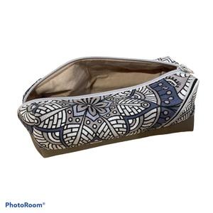 Szürke-kék mandalák - sötétbézs textilbőr gymbag szett (gymbag, tolltartó, neszeszer) (BBKreativmuhely) - Meska.hu