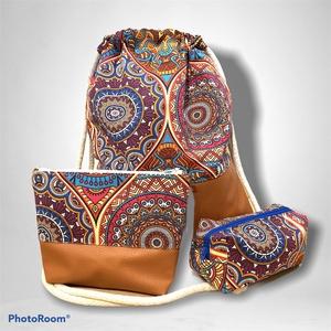 Színes mandalák - terrakotta textilbőr gymbag szett (gymbag, tolltartó, neszeszer), Táska & Tok, Hátizsák, Gymbag, Gymbag leírása:  Textilbőr és loneta vászon kombinációjával készült hátizsák (gymbag). Belül pamut v..., Meska