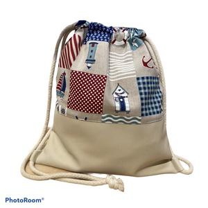 Tengerre fel! Mintás gymbag világos textilbőrrel, Táska & Tok, Hátizsák, Gymbag, Textilbőr és loneta vászon kombinációjával készült hátizsák (gymbag). Belül pamut vászonnal bélelt. ..., Meska