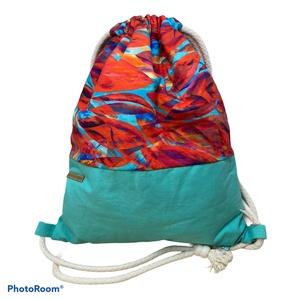 Tűzvirágos pamutvászon gymbag, Táska & Tok, Hátizsák, Gymbag, 100 % prémium pamutvászonból  készült hátizsák (gymbag). Belül pamut vászonnal bélelt. Tetejét zsinó..., Meska