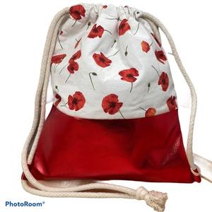 Pipacsos gymbag csillámló piros textilbőrrel, Táska & Tok, Hátizsák, Gymbag, Varrás, Textilbőr és loneta vászon kombinációjával készült hátizsák (gymbag). Belül pamut vászonnal bélelt. ..., Meska