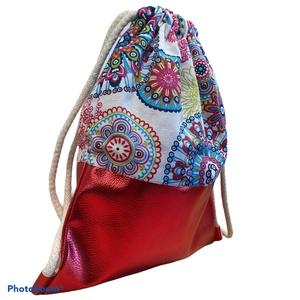 Mandalás gymbag csillámló piros textilbőrrel, Táska & Tok, Hátizsák, Gymbag, Textilbőr és loneta vászon kombinációjával készült hátizsák (gymbag). Belül pamut vászonnal bélelt. ..., Meska