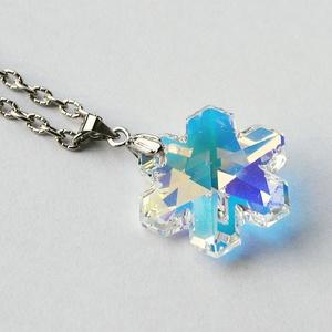Swarovski hópehely medál- Crystal Ab (beaDapple) - Meska.hu
