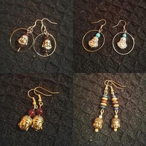 Fülbevalók, Ékszer, Fülbevaló, Lógós fülbevaló, Gyöngyfűzés, gyöngyhímzés, Különböző, egyedi Buddha fejes fülbevalók, arany vagy ezüst színben, ásvány/ fa/ üveggyöngyökkel:) A..., Meska