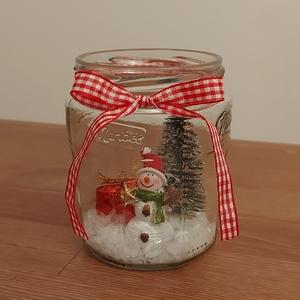 Befőttes üveg új életre keltve, Karácsony & Mikulás, Karácsonyi dekoráció, Újrahasznosított alapanyagból készült termékek, Mindenmás, Ezt a termékemet az újrahasznosítás jegyében készítettem. Alapnak a konyhában megüresedett befőttes ..., Meska