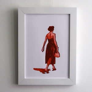 Fali Dekor Retro Fashion Kép Piros Ruhás Nő Kézzel Vágott Vintage Piros Színes Papírból A4es Kép 34x26cm Keret, Otthon & lakás, Dekoráció, Kép, Képzőművészet, Napi festmény, kép, Lakberendezés, Falikép, A 40es évek divat irányzatai inspirálta a képek készítését.  Stencil technikával készült, tehát a sz..., Meska