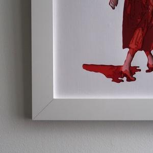 Fali Dekor Retro Fashion Kép Piros Ruhás Nő Kézzel Vágott Vintage Piros Színes Papírból A4es Kép 34x26cm Keret (beardyart) - Meska.hu