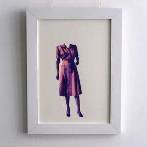 Vintage Fashion Fali Dekor Kép Retro Fej Nélkül Fali Dízs Kézzel Vágott Lila Színes Papírból A4es Kép 34x26cm Keret, Otthon & lakás, Dekoráció, Kép, Lakberendezés, Falikép, Képzőművészet, Napi festmény, kép, A 40es évek divat irányzatai inspirálta a képek készítését.  Stencil technikával készült, tehát a sz..., Meska