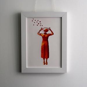Vintage Fashion Fali Dekor Kalapos Nő Fali Dísz Kézzel Vágott Narancssárga Színes Papírból A4es Kép 34x26cm Keret, Otthon & lakás, Dekoráció, Kép, Lakberendezés, Falikép, Képzőművészet, Napi festmény, kép, A 40es évek divat irányzatai inspirálta a képek készítését.  Stencil technikával készült, tehát a sz..., Meska