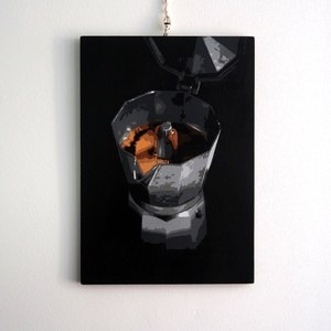 Kotyogós Kávé Kávéfőző Festmény Akril Festék Spray Fali Asztali Dísz, Otthon & lakás, Dekoráció, Kép, Lakberendezés, Falikép, Asztaldísz, Papírművészet, Festészet, Sziasztok!\n\nEladásra ajénlom ezt az egyedi kézzel készített festményt.\n\nMaga a technika stencilekre ..., Meska