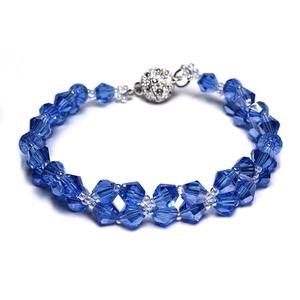 Kék Laguna karkötő ezüst színű mágnessel vagy lánccal, Ékszer, Karkötő, Gyöngyös karkötő, Gyöngyfűzés, gyöngyhímzés, Ékszerkészítés, Kék Laguna karkötő ezüst színű mágnessel.\n6 mm-es üveggyöngyökkel. Erős ezüst színű mágnessel vagy 5..., Meska
