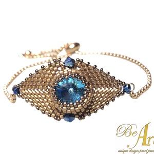 Swarovski Blue Rose Gold Allah szeme karkötő állítható rozsdamentes, Ékszer, Karkötő, Gyöngyfűzés, gyöngyhímzés, Ékszerkészítés, Swarovski Blue Rose Gold Allah szeme állítható rozsdamentes karkötő.\nGyönyörűen csillogó. A kép soha..., Meska