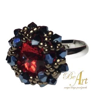 Swarovski gyűrű Piros, Metallic Blue Egyedi nikkelmentes, jegygyűrű, Ékszer, Gyűrű, Többköves gyűrű, Ékszerkészítés, Gyöngyfűzés, gyöngyhímzés, Swarovski gyűrű Piros, Metallic Blue Egyedi nikkelmentes\n\nJegygyűrűnek tökéletes. Ajándék ékszerdobo..., Meska