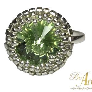 Swarovski választható színben 925 Sterling Ezüst gyűrű Egyedi, Ékszer, Gyűrű, Gyöngyös gyűrű, Ékszerkészítés, Gyöngyfűzés, gyöngyhímzés, Swarovski VÁLASZTHATÓ SZÍNBEN 925 Sterling Ezüst gyűrű \n\nEgyedi tervezésű kézzel készített gyűrű.\n\nA..., Meska