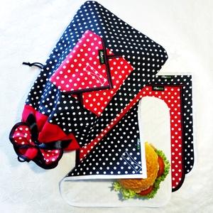 Piros-Fekete Prémium Zero Waste SZETT - környezetbarát CSOMAG- KENYERESZSÁK és 4db Újraszalvéta KARÁCSONYI ajándék ötlet, Táska & Tok, Uzsonna- & Ebéd tartó, Szendvics csomagoló, Varrás, ...ha igazán szép és hasznos és CUKI AJÁNDÉKOT adnál karácsonyra, akkor ezt keresed! MINNIE - 1db De..., Meska