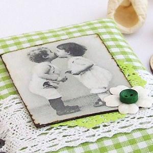 GOOD OLD TIMES napló zöld kockás textillel (BeHappyBooks) - Meska.hu