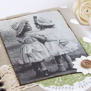 GOOD OLD TIMES napló drapp alapon fehér babos textillel (BeHappyBooks) - Meska.hu