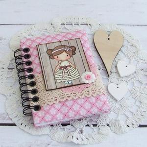 PRETTY PINK napló, virágos, Otthon & Lakás, Jegyzetfüzet & Napló, Papír írószer, PRETTY PINK - egy kollekció a legkisebbeknek! Bájos kislány motívumos napló, emlékkönyv vagy jegyzet..., Meska