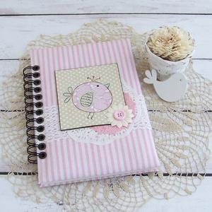 PRETTY PINK napló, csíkos madárkás, Otthon & Lakás, Jegyzetfüzet & Napló, Papír írószer, PRETTY PINK - egy kollekció a legkisebbeknek! Madárka motívumos napló, emlékkönyv vagy jegyzetfüzet ..., Meska