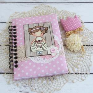 PRETTY PINK napló, pöttyös, Otthon & Lakás, Jegyzetfüzet & Napló, Papír írószer, PRETTY PINK - egy kollekció a legkisebbeknek! Bájos kislány motívumos napló, emlékkönyv vagy jegyzet..., Meska
