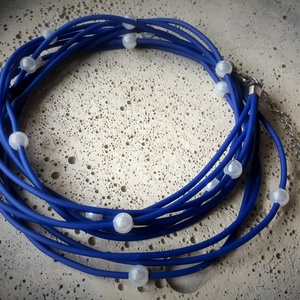 Perlend Blu multi - többféleképpen hordható ékszer, Ékszer, Karkötő, Nyaklánc, Ékszerkészítés, Gyöngyfűzés,
