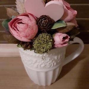 Virágdìsz pohárban, Otthon & Lakás, Dekoráció, Asztaldísz, Virágkötés, Kedveskedjünk anyák napjára, ballagásra, vagy egyéb alkalmakra, ezzel a soha el nem hervadó,vidám vi..., Meska