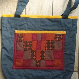 Őszi színű táska, Táska & Tok, Válltáska, Kézitáska & válltáska, Az ősz színeit használtam a táska díszítéséhez. Az elején látható dísz, egyben zseb is. A belsejében..., Meska