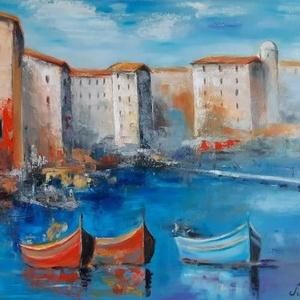 Mediterrán csónakok, Olajfestmény, Festmény, Művészet, Festészet, Mediterrán területen ringó csónakok. Szívesen megyek nyáron a tengerhez, de ha nem tehetem, akkor eg..., Meska