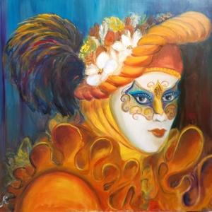 Karnevál, Otthon & lakás, Képzőművészet, Festmény, Olajfestmény, Festészet, Ezt az olajfestményt a Karnevál ihlette. A színes fejdísz és a díszes maszk illik egy vidám szobába...., Meska