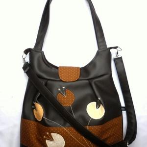 Barna tulipános textilbőr táska (belinbolt) - Meska.hu