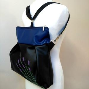 Levendulás kék fekete 3in1 hátizsák (belinbolt) - Meska.hu