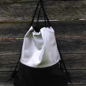 """Ezüst fekete hátizsák , Táska & Tok, Hátizsák, Hátizsák, Rendelésre készülő tornazsák, """"gymbag"""". 50 cm magas, felnőtt méret. Lehet 40 cm magas Tiniknek való ..., Meska"""