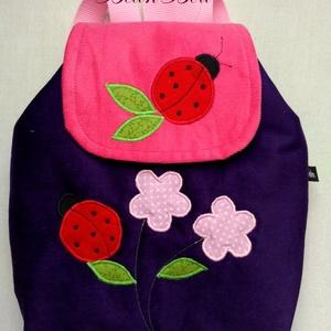 Katicás lila rózsaszín hátizsák, Kishátizsák, Hátizsák, Táska & Tok, Varrás, Kordbársony gyerekhátizsák, 30 cm magas. 2-5 éves gyerekeknek ajánlom ezt a méretet. A táska színe l..., Meska