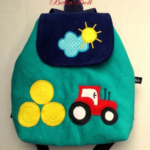Traktoros hátizsák, Táska & Tok, Hátizsák, Hátizsák, Kordbársony gyerekhátizsák, 30 cm magas. 2-5 éves gyerekeknek ajánlom ezt a méretet. Fedlapja mágnes..., Meska