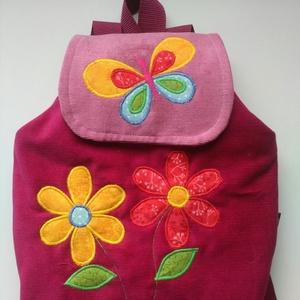 Ciklámen virágos hátizsák, Táska, Divat & Szépség, Táska, Hátizsák, Gyerek & játék, Varrás, Kordbársony gyerekhátizsák, 30 cm magas. 2-5 éves gyerekeknek ajánlom ezt a méretet. A táska színe l..., Meska