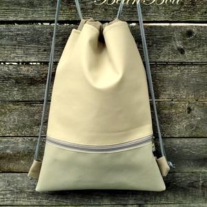 Bézs hátizsák , Táska & Tok, Gymbag, Hátizsák, 50 cm magas, 40 cm széles, felnőtt méret. Lehet 40-45 cm magas Alacsonyabb termetre való méretben is..., Meska