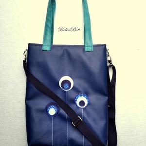 Kék válltáska, Táska & Tok, Válltáska, Kézitáska & válltáska, Textilbőr táska.  Türkizzöld és királykék színben. 27 cm széles felül, 37 cm magas. Cipzáras. Bélése..., Meska