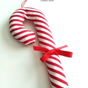 Cukorpálca karácsonyfadísz masnis , Otthon & Lakás, Karácsony & Mikulás, Karácsonyfadísz, Varrás, 14 cm magas textildísz. Cukorpálca alakú, puha vatelinnel töltött pamutvászon. Kicsik kezébe is lehe..., Meska