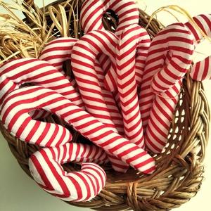 Cukorpálca karácsonyfadísz 10 db, Otthon & Lakás, Karácsony & Mikulás, Karácsonyfadísz, Varrás, 14 cm magas textildísz akasztóval. Cukorpálca alakú, puha vatelinnel töltött pamutvászon. Kicsik kez..., Meska